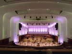 Philharmonic hall set up for a social-distanced orchestra
